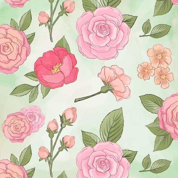 Patrón sin fisuras de hermosas flores de peonía Vector Premium