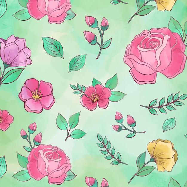 Patrón sin fisuras de hermosas peonías florales Vector Premium
