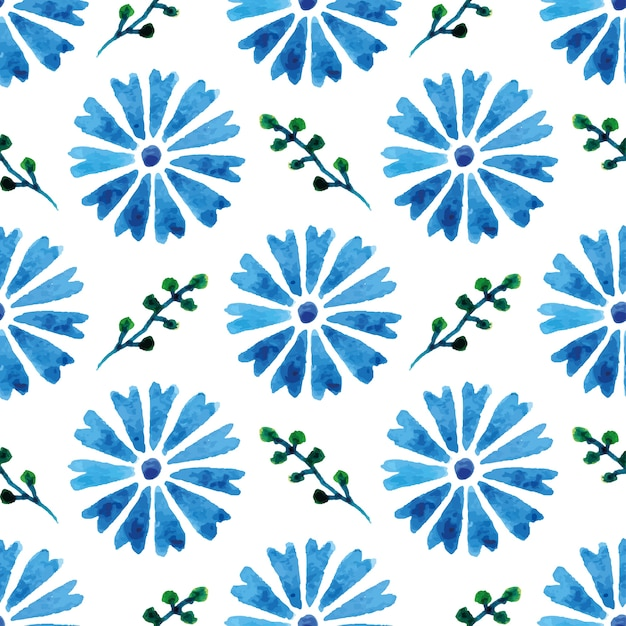 Patron Sin Fisuras Con Hermosos Acianos Acuarela Flores Azules