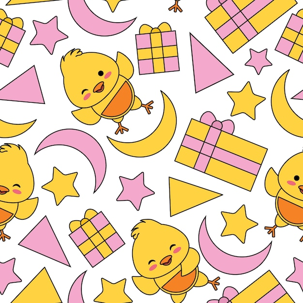 Patrón sin fisuras con lindo polluelo, caja de regalo y estrellas vector de dibujos animados adecuado para el diseño de papel tapiz de cumpleaños de niño, papel de desecho y tela de ropa de niño de ropa Vector Premium