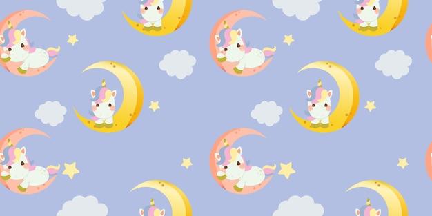 Patrón sin fisuras de lindo unicornio arcoiris sentado en la luna Vector Premium