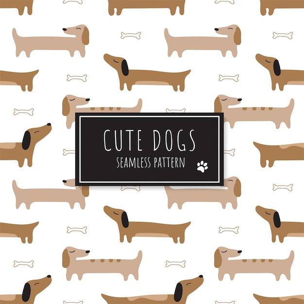 Patrón sin fisuras con lindos dachshunds rojos. Vector Premium