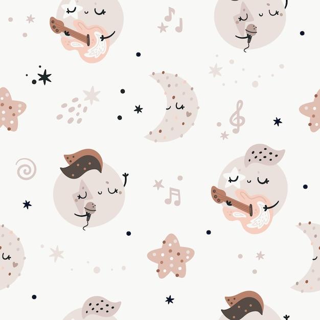 Patrón sin fisuras con lindos planetas, estrellas y lunas. textura de música de rock and roll infantil, colores pastel Vector Premium