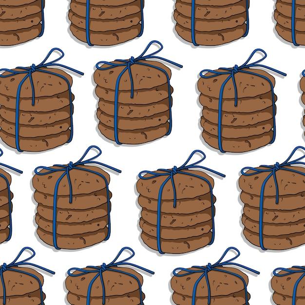 Patrón sin fisuras con mano dibujado galletas de avena sobre un fondo blanco. Vector Premium