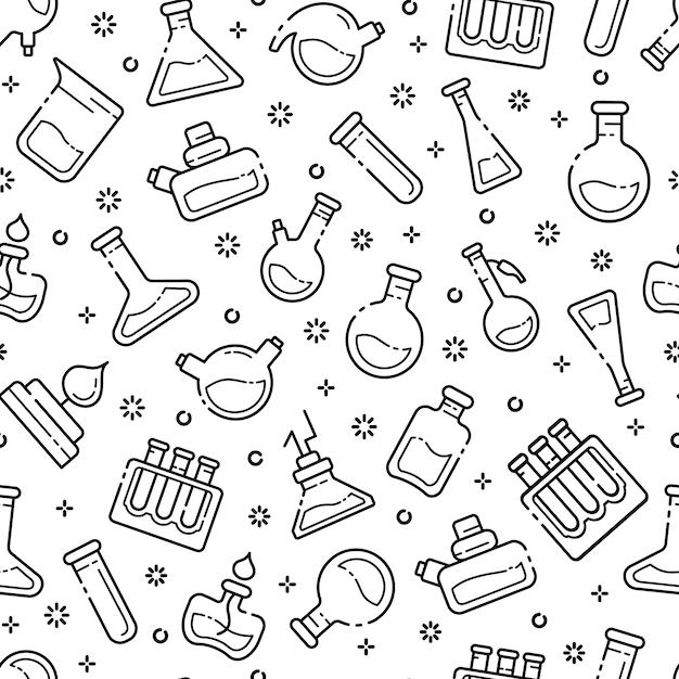 Patrón sin fisuras con matraces de laboratorio de contorno, tubos de ensayo para experimentos científicos. laboratorio quimico Vector Premium