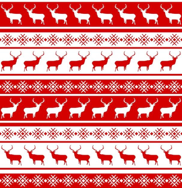 Patrón sin fisuras de navidad con ciervos. Vector Premium
