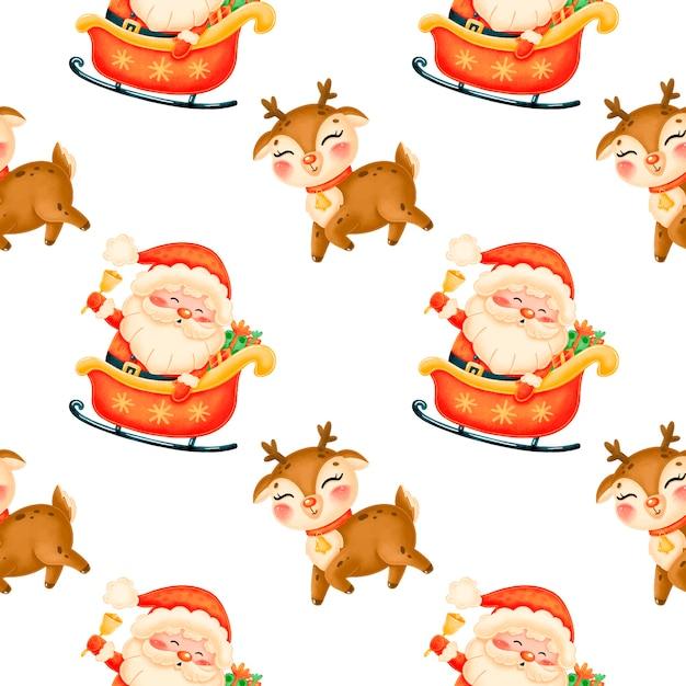 Patrón sin fisuras de navidad de dibujos animados lindo Vector Premium