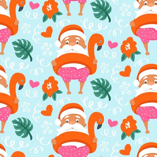 Patrón sin fisuras de navidad tropical con verano santa claus en anillo inflable flamingo. Vector Premium