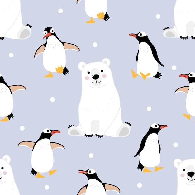 Patrón sin fisuras de oso polar y pingüino y fondo. | Descargar ...