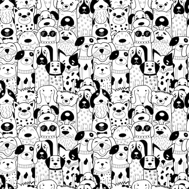 Patrón sin fisuras con perros doodle blanco y negro. Vector Premium