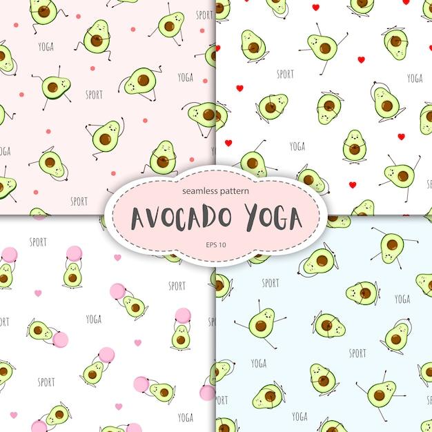 Patrón sin fisuras del personaje de aguacate. colección de postura de yoga. linda ilustración para tarjetas de felicitación, pegatinas, tela, sitios web y estampados. Vector Premium