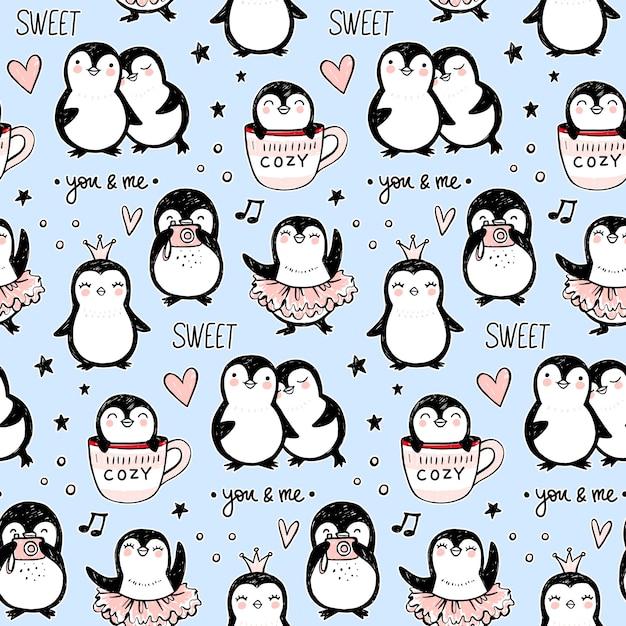 Patrón sin fisuras de pingüino. fondo de animales divertidos. textura dibujada a mano de dibujos animados con personajes lindos. estilo doodle. Vector Premium