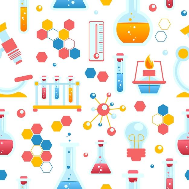 Patrón sin fisuras de química vector gratuito