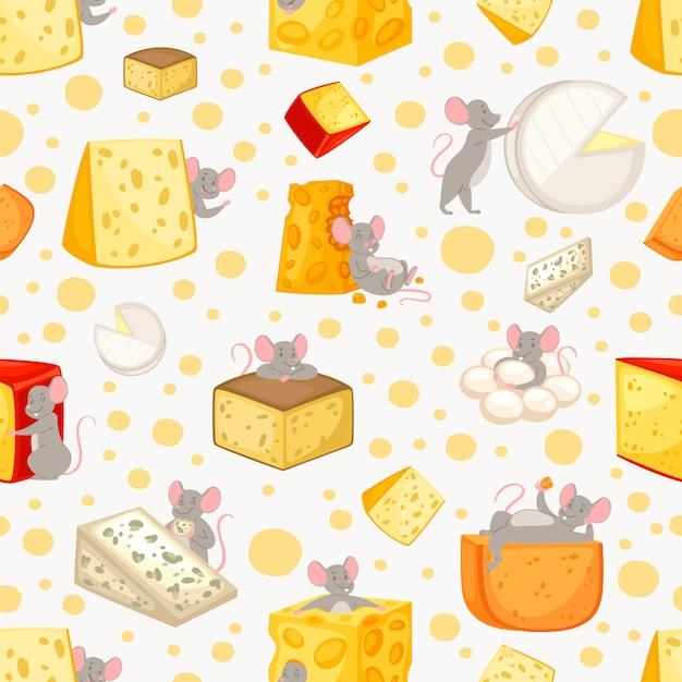 Patrón sin fisuras en rodajas de queso y ratones en dibujos animados, patrón animal lindo, comida, ilustración de estilo. Vector Premium