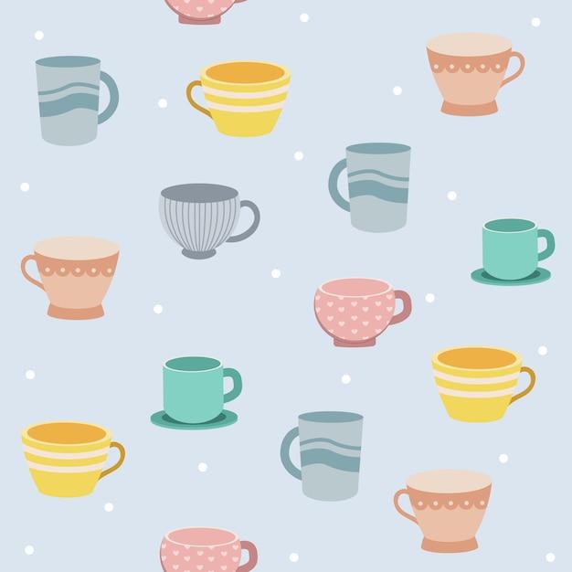 El patrón sin fisuras de la taza de té sobre fondo azul y lunares blancos. Vector Premium