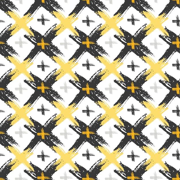 Patrón sin fisuras con texturas cruzadas grunge amarillo y negro. fondo de moda hipster Vector Premium