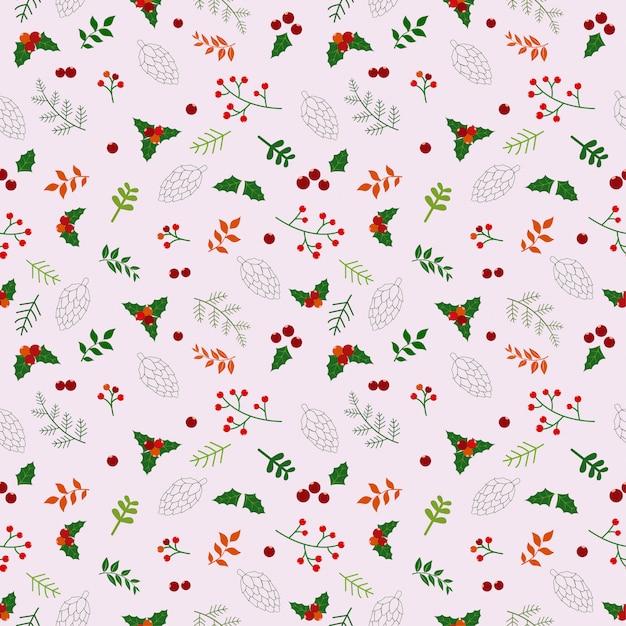 Patrón sin fisuras de vacaciones de navidad con flores y hojas ...