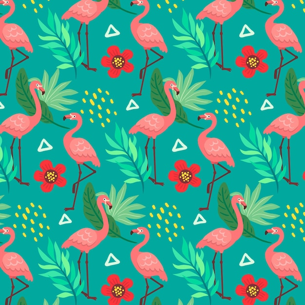 Patrón de flamencos con hojas y flores tropicales vector gratuito
