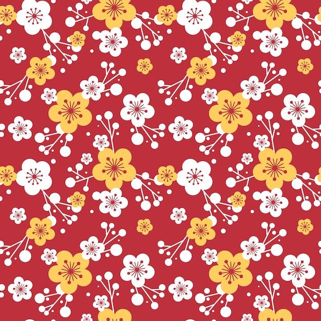 Patrón de flor de ciruelo vector gratuito