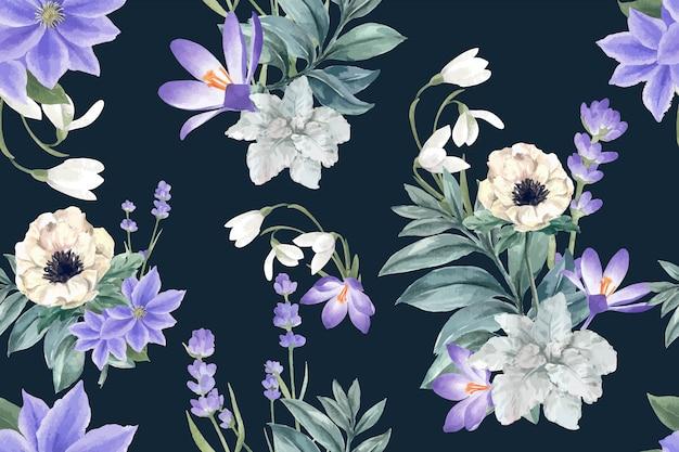 Patrón de floración de invierno con azafrán, lavanda, anémona vector gratuito