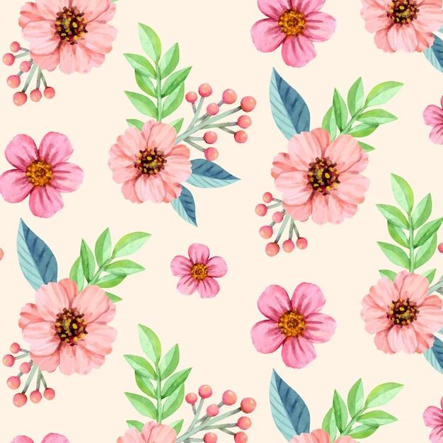 Patrón floral acuarela vector gratuito