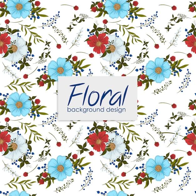 Patrón floral con bayas. vector gratuito