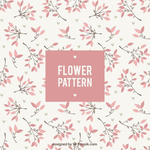 Patrón floral bonito en diseño plano Vector Premium