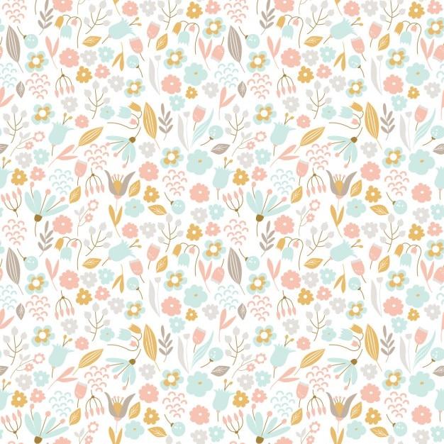 Patrón floral dibujado a mano en colores pastel | Descargar Vectores ...