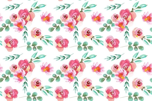 Patrón floral estilo acuarela vector gratuito