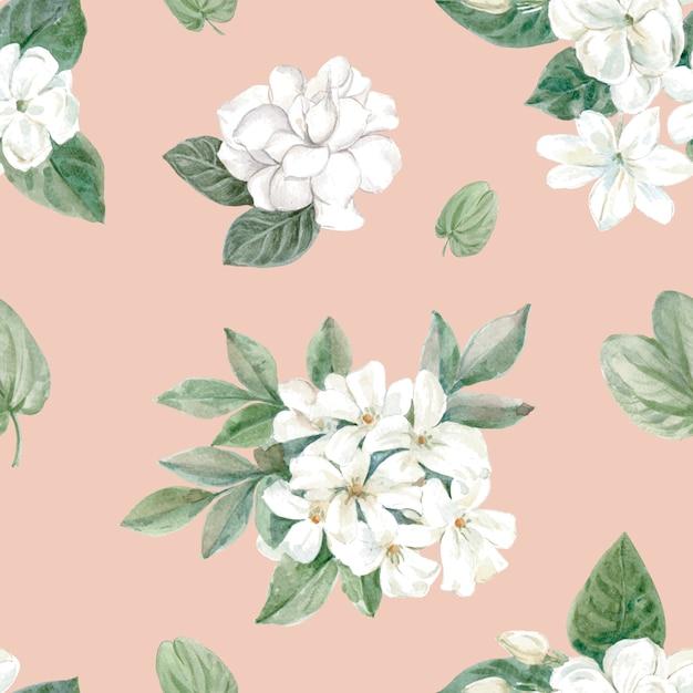 Patrón floral en estilo acuarela. vector gratuito