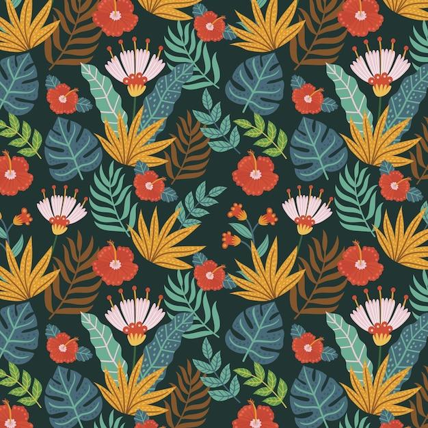 Patrón floral exótico pintado a mano vector gratuito