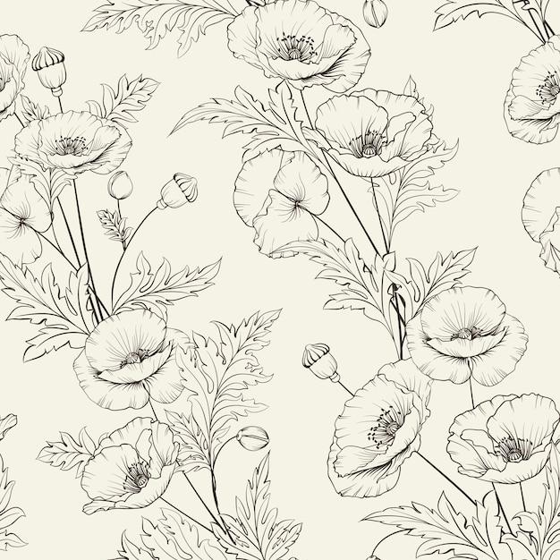 Patrón floral sin fisuras. amapola floreciente sobre fondo beige. vector gratuito