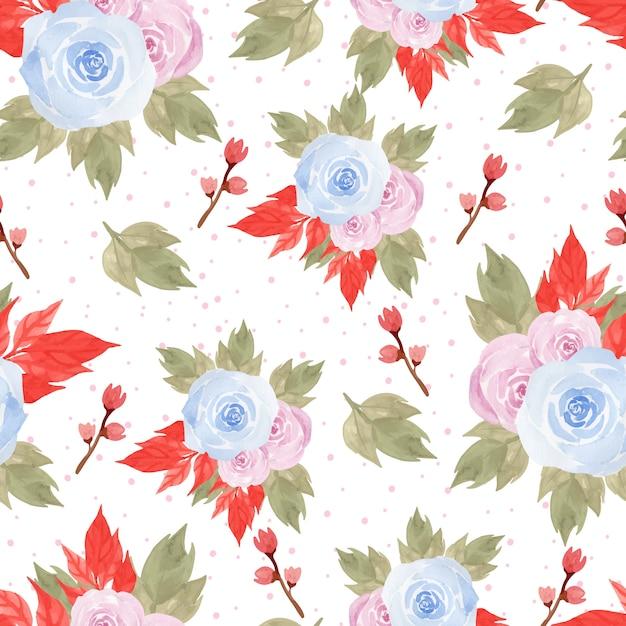 Patrón Floral Sin Fisuras Con Hermosas Rosas Azules Y Rosas