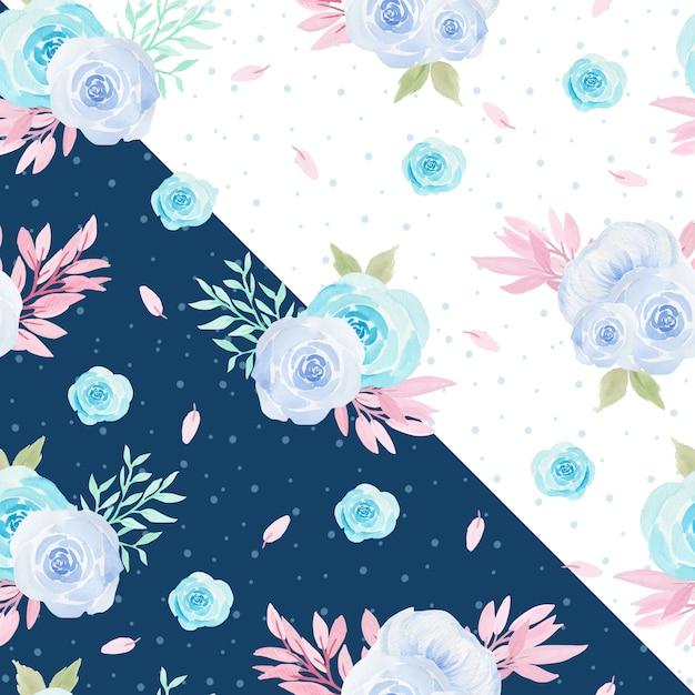 Patrón Floral Sin Fisuras Con Hermosas Rosas Azules Descargar