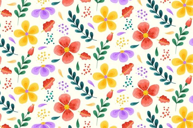 Patrón floral con flores de colores vector gratuito