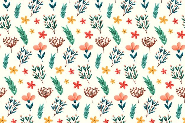 Patrón floral con flores y hojas. vector gratuito