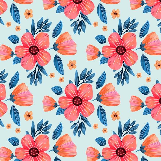 Patrón floral con flores rosas y hojas. vector gratuito