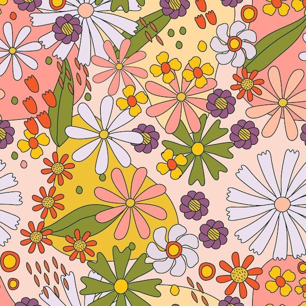 Patrón floral maravilloso dibujado a mano Vector Premium