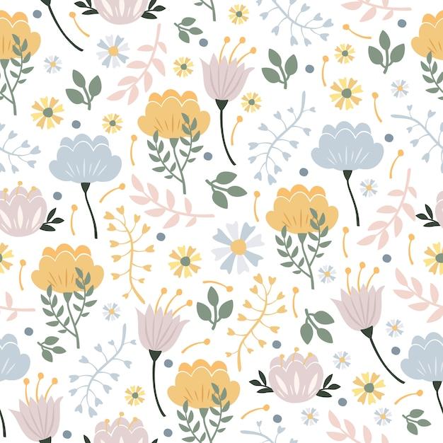 Patrón floral pastel vector gratuito