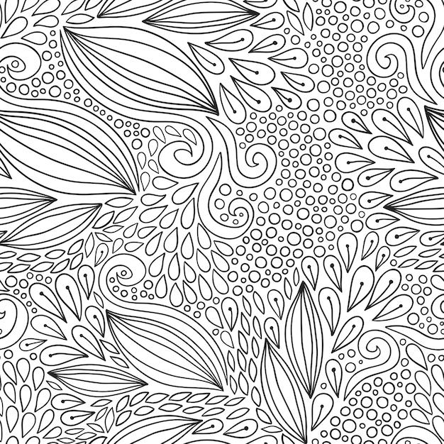 Patrón floral sin fisuras. ornamento moderno doodle blanco y negro ...