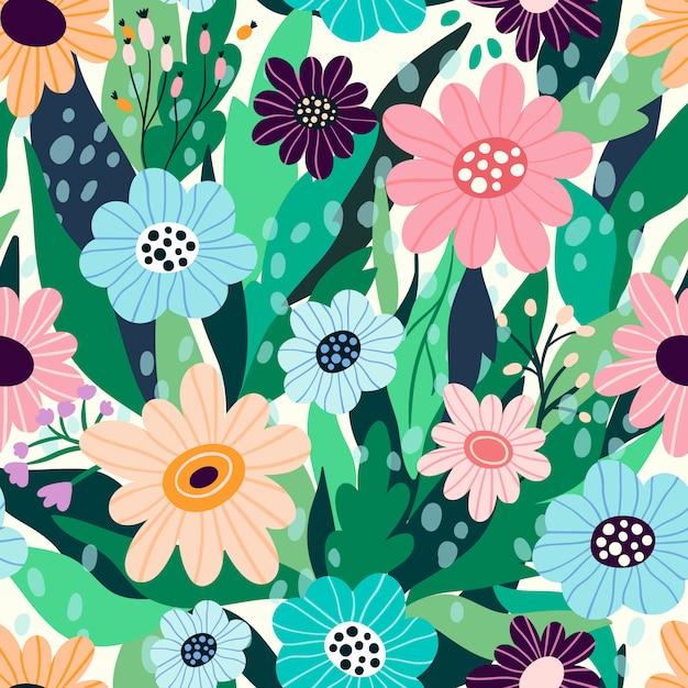 Patrón floral transparente con flores y hojas dibujadas a mano Vector Premium