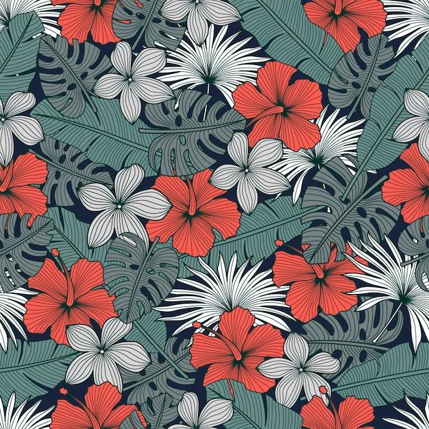 Patrón floral transparente con flores tropicales Vector Premium