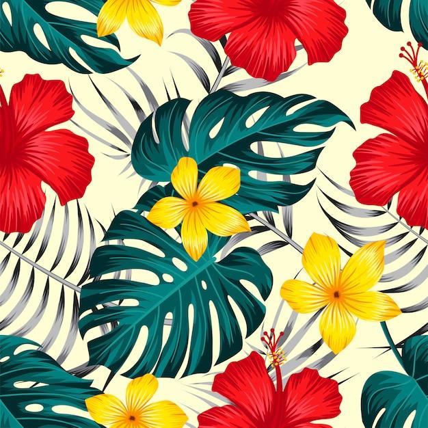 Patrón floral transparente con fondo tropical de hojas Vector Premium