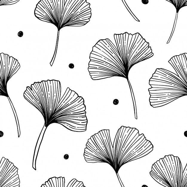 Patrón floral transparente con hojas de ginkgo Vector Premium