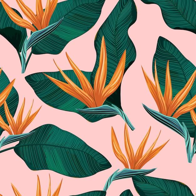 Patrón floral transparente con hojas tropicales Vector Premium
