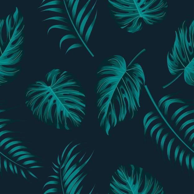Patrón floral transparente con hojas Vector Premium