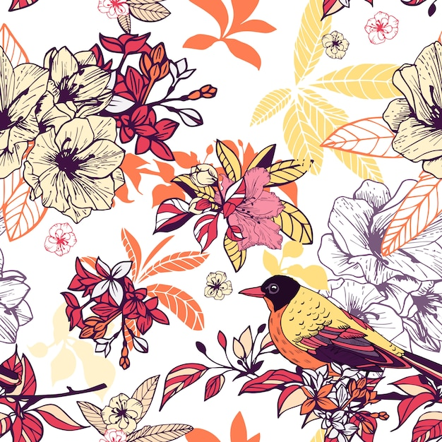 Patrón floral transparente con pájaro vector gratuito