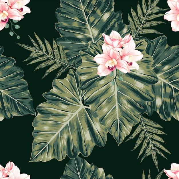 Patrón floral transparente rosa pastel orquídea flores monstera hojas resumen antecedentes. ilustración acuarela dibujada a mano. Vector Premium