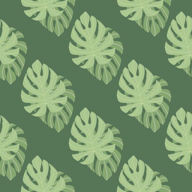 Patrón floral transparente vintage con adorno de hojas de monstera verde. follaje tropical Vector Premium