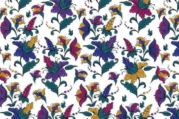 Patrón floral tropical colorido vector gratuito